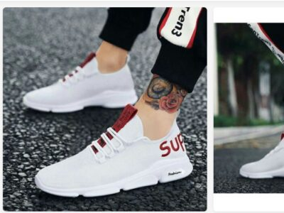 Sneaker shoe White and red