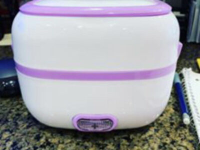 Electric Lunch Box/Rice cooker with Silver Bowl.