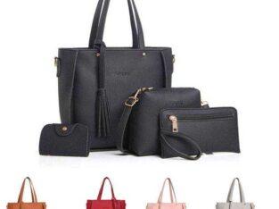 wholesale 4pcs set Pu leather bag