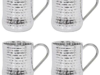 Member's Mark Hammered Mug Set 4Pk Silver