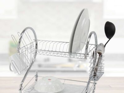 2 Tier Dish Drainer Chrome Rack with Drip Tray
