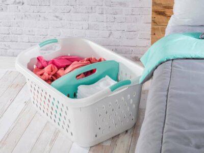 Sterilite 77L Divided Laundry Basket White