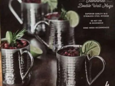 Member's Mark Double-Wall Hammered Mugs Set 4 Pack