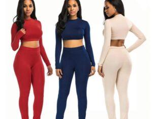 Sexy Solid Colour High Waist O-Neck Jumpsuit Set