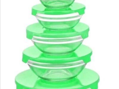 Microwave Glass Bowl Sets with Lids 5 Pcs