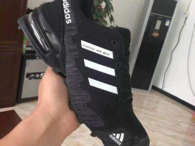 Black Adidas Fashion Air Max White Stripes