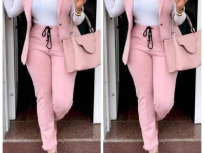 Pink material jacket and trouser