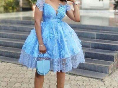 Blue ladies outing dress