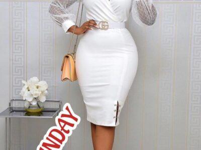 ladies white outing dress