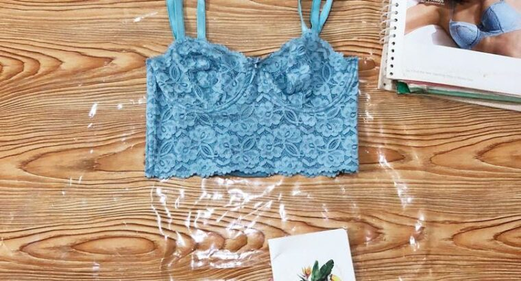 Blue Lacy Cropped Top For Sale